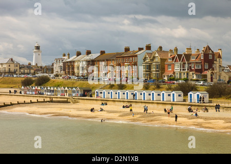 Seafront of this town with the lighthouse, North Parade and the famously pricey beach huts, Southwold, Suffolk, - Stock Photo