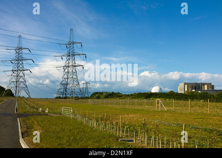 Pylons and the Sizewell A nuclear power station, and the Sizewell B pressurised water reactor, Sizewell, Suffolk, - Stock Photo