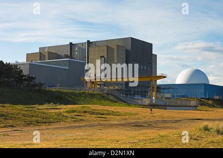 Sizewell A Magnox nuclear power station, on the left, and the B with pressurised water reactor, Sizewell, Suffolk, - Stock Photo