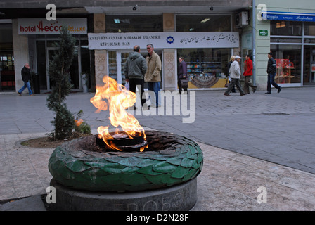 The Eternal flame in Sarajevo dedicated to the memory of military and civilian victims of the Second World War. - Stock Photo