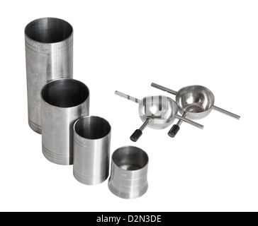 selection of metric thimble measures for serving alcohol in public bars - Stock Photo