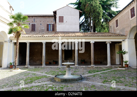 Rome Italy Basilica of St. Clement (Basilica di San Clemente al Laterano) courtyard - Stock Photo