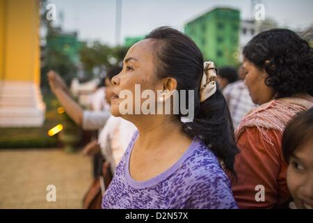 Jan. 29, 2013 - Phnom Penh, Cambodia - Mourners gather in front of the Royal Palace in Phnom Penh, Cambodia during - Stock Photo