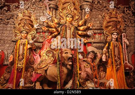 Goddess Durga statue during Durga Pooja, Kolkata, West Bengal, India, Asia - Stock Photo