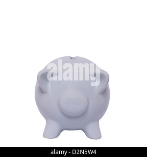A white piggy bank on a white background - Stock Photo