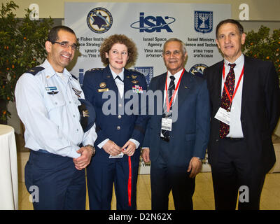 Right-to-left; IAF Ret. Brig. Gen. Asaf Agmon, IAF Ret. Maj. Gen. Herzl Bodinger, Lieut. Gen. Susan Helms, Commander - Stock Photo