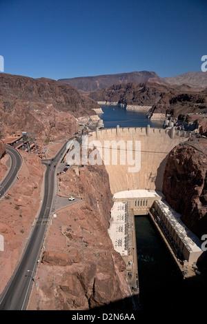 Hoover Dam, Colorado River, between Nevada and Arizona, United States of America, North America - Stock Photo