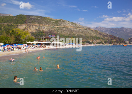 View of Slovenka Plaza Beach, Budva, Montenegro, Europe - Stock Photo