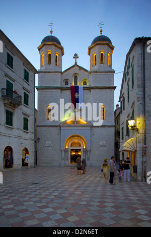 St. Nicholas Serbian Orthodox Church at dusk, Old Town, UNESCO World Heritage Site, Kotor, Montenegro, Europe - Stock Photo