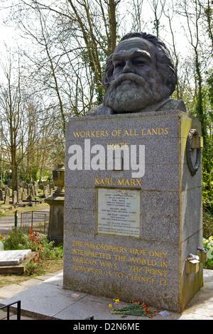 Karl Marx 's grave at Highgate Cemetery, London, England, United Kingdom, Europe - Stock Photo
