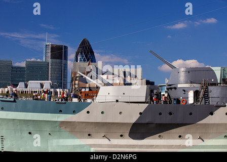 HMS Belfast WW2 battleship now a floating museum, is moored on the River Thames near London Bridge, London, England, - Stock Photo