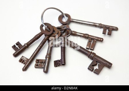Bunch of old Fashioned Vintage Keys - Stock Photo