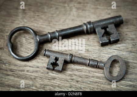 Close up of two old Fashioned Vintage Keys - Stock Photo