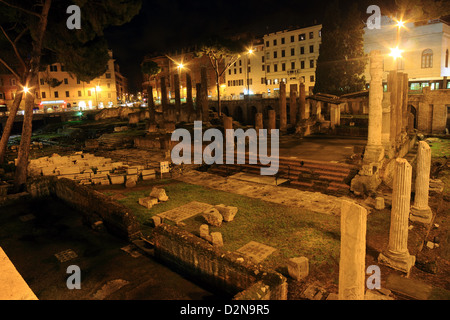 Ancient Roman ruins of the Sacred area located in Largo di Torre Argentina, Rome, Italy - Stock Photo