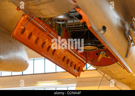 Aerial photography cameras and air target towing winch mounted inside the bomb bay of a Finnish Air Force Ilyushin - Stock Photo