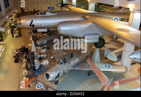 Cold War era Ilyushin Il-28, MiG-21F-13, and MiG-15UTI aircraft on display at the Finnish Air Force Museum at Tikkakoski, - Stock Photo