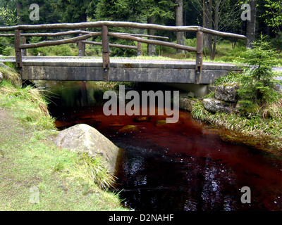 a river with wooden bridge in the Harz National Park - Stock Photo