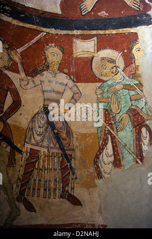 Romanesque. Church of St. Mary (Santa Maria). Martyrdom of English Archbishop Thomas Becket. Wall painting. Tarrasa, - Stock Photo
