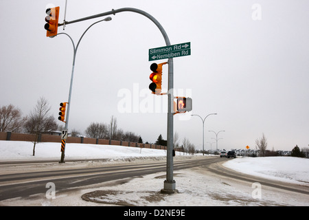 traffic lights intersection main road during freezing winter weather Saskatoon Saskatchewan Canada - Stock Photo