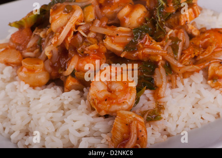 chicken and prawns in chines sauce served with rice - Stock Photo