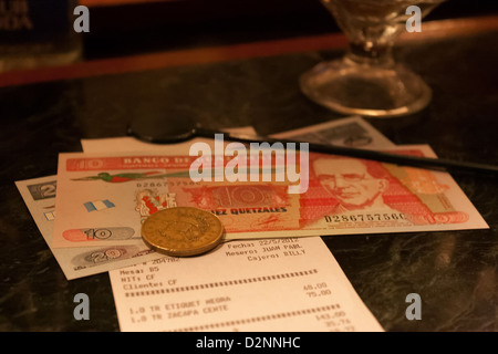 The bar bill after some zacapa drinks in Guatemala - Stock Photo