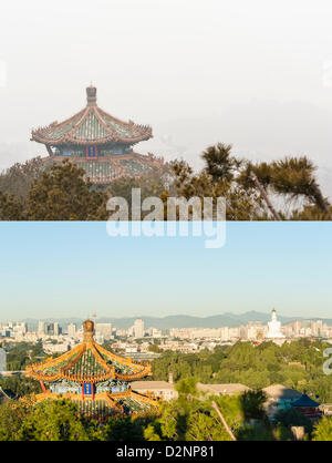Beijing city enveloped by the heavy fog and haze in Jan 29, 2013, compared with a same place in a good day in autumn - Stock Photo