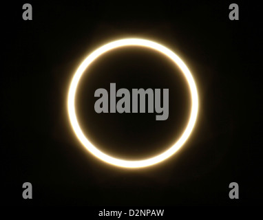 Partial eclipse of the sun, Navajo Land, Arizona May 2012 - Stock Photo