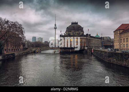The Baroque Bode Museum on river Spree,Museum Island ,Berlin,Germany - Stock Photo