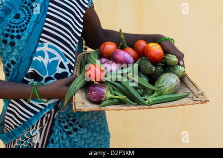 Rural Indian village woman holding a tray of indian vegetables in her hands. Andhra Pradesh, India - Stock Photo