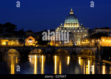 italy, rome, tiber river, ponte sant'angelo and st peter's basilica at night - Stock Photo