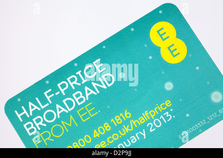 A card advertising broadband from the mobile phone network provider EE previously Orange + T mobile - Stock Photo