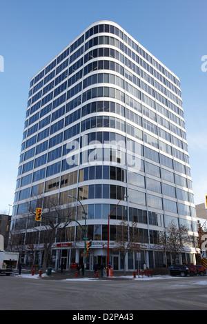 Saskatoon square office tower building Saskatchewan Canada - Stock Photo