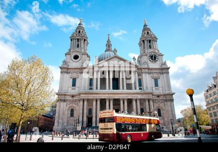 St. Paul's Cathedral entrance, London, England, United Kingdom - Stock Photo