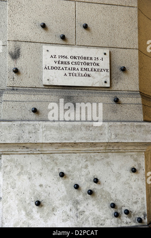 Budapest. Steel balls on the facade of the Ethnographic Museum in memory of people killed by the Hungarian communist - Stock Photo