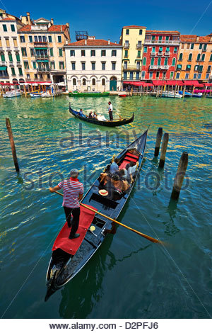 Tourists taking a Gondolas ride on the Grand Canal  , Venice, Italy - Stock Photo