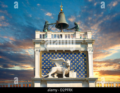 close up of the winged lion statue of St Mark on St Mark's Clock Tower, Venice Italy - Stock Photo