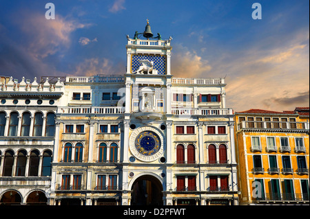 Close up of the astronomical clock face of St Mark's Clock- Venice Italy - Stock Photo