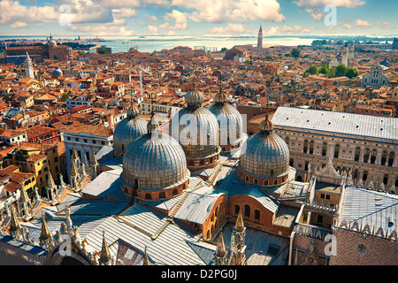 Arial view of St Mark's Basilica & Doges Palace, Venice Italy - Stock Photo