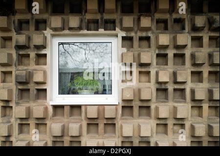 Chemnitz, Germany, facade detail of a three-dimensional concrete facade - Stock Photo