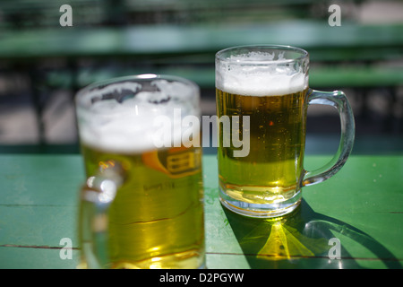 Munich, Germany, two glasses of beer in the beer garden - Stock Photo