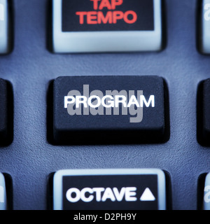 part of digital midi keyboard, program button - Stock Photo