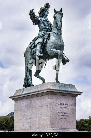 Statue of Louis XIV on horseback at Versailles Palace in France - Stock Photo