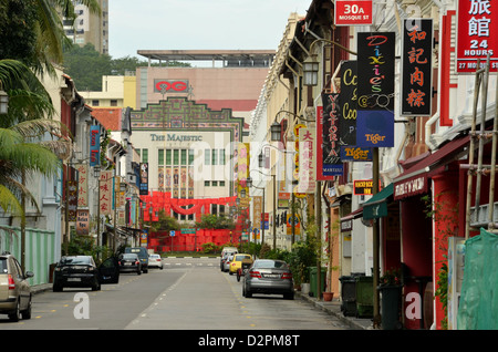 The Majestic  is a historic building on Eu Tong Sen Street in Chinatown, Singapore. - Stock Photo