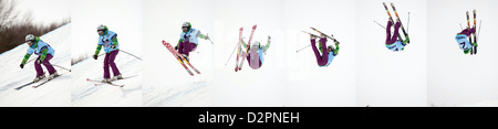 jump sequence of unknown participant at Nokia Freestyle Tour 2011 February 13, 2011 in Valca, Slovakia - Stock Photo