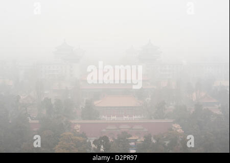 Beijing, China. 29th January 2013. Beijing city enveloped by the heavy fog and haze in Jan 29, 2013.  Credit:  avadaRM - Stock Photo