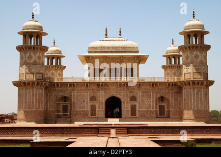 Facade of a mausoleum, Itmad-ud-Daulah's Tomb, Agra, Uttar Pradesh, India - Stock Photo
