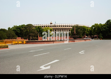 Facade of a government building, Sansad Bhawan, New Delhi ...