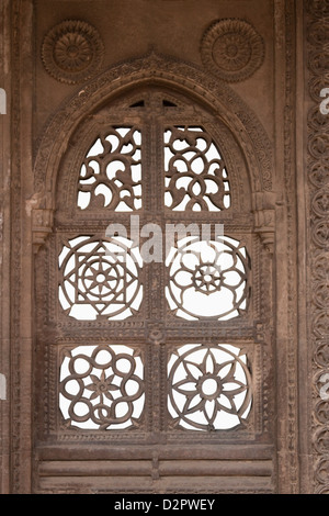 Architectural details of a mosque, Sayad Sidi Mosque, Ahmedabad, Gujarat, India - Stock Photo