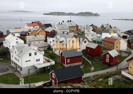 Once a small fishing village on the island of Ona, now summer cabins, Ona, Sandoy, Norway - Stock Photo