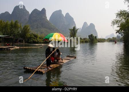 Rafting on the Yulong River, Yangshuo, Guangxi, China, Asia - Stock Photo